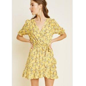 Hayden LA Floral Surplice Ruffle Mini Dress